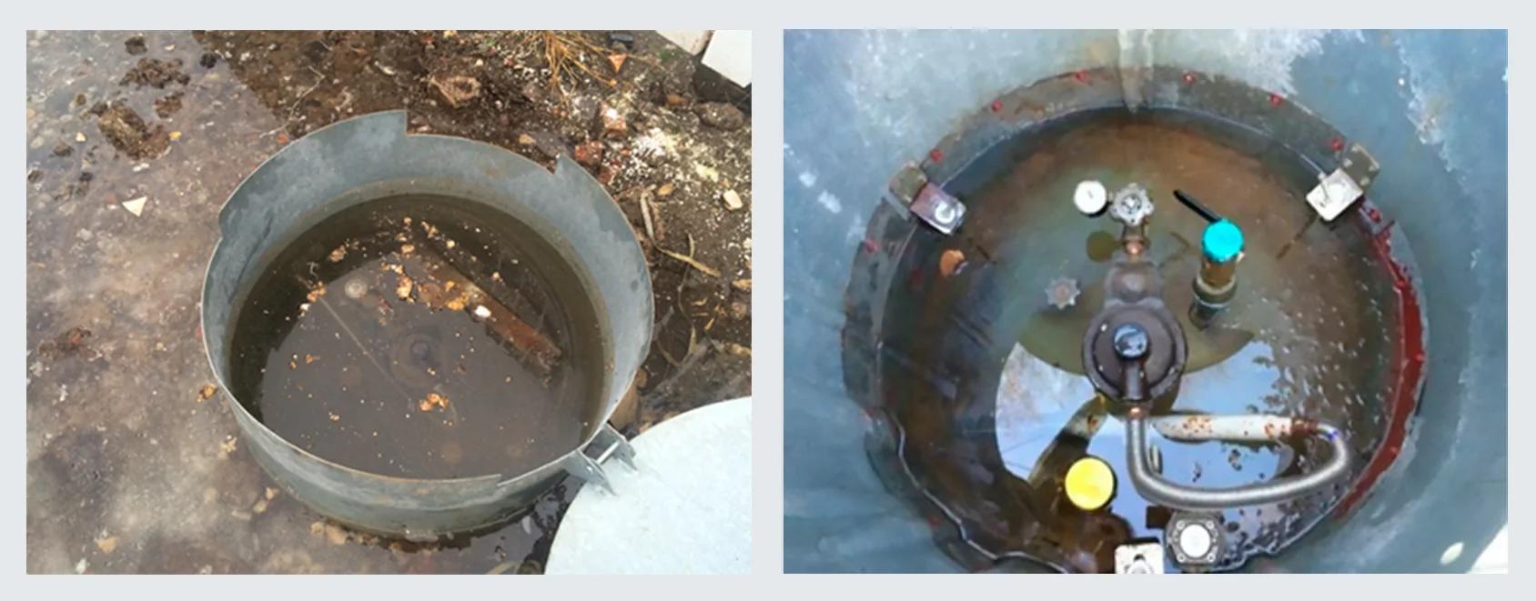 Фото газгольдера с затопленной арматурой и управляющим оборудованием