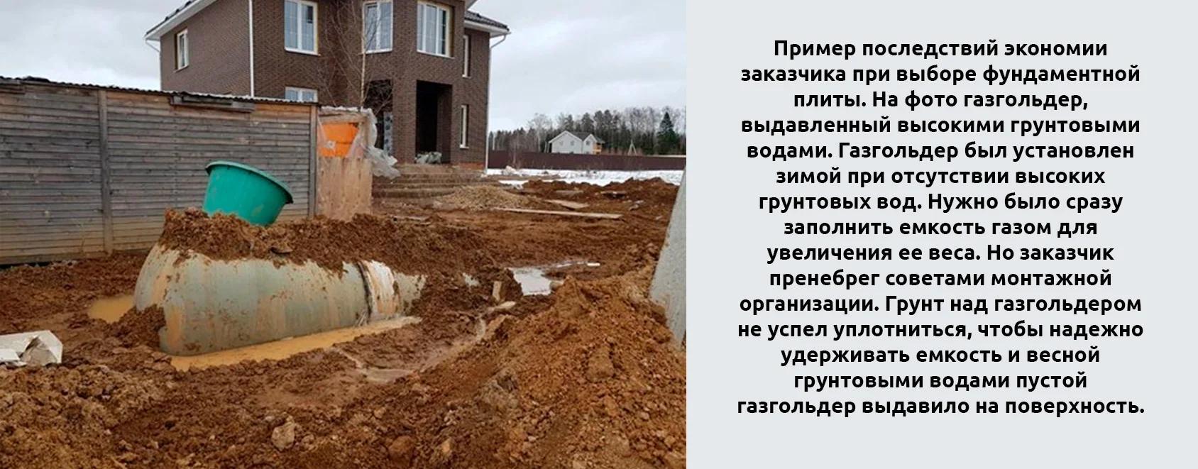 Фото последствий применения пустотелых фундаментов при высоких грунтовых водах