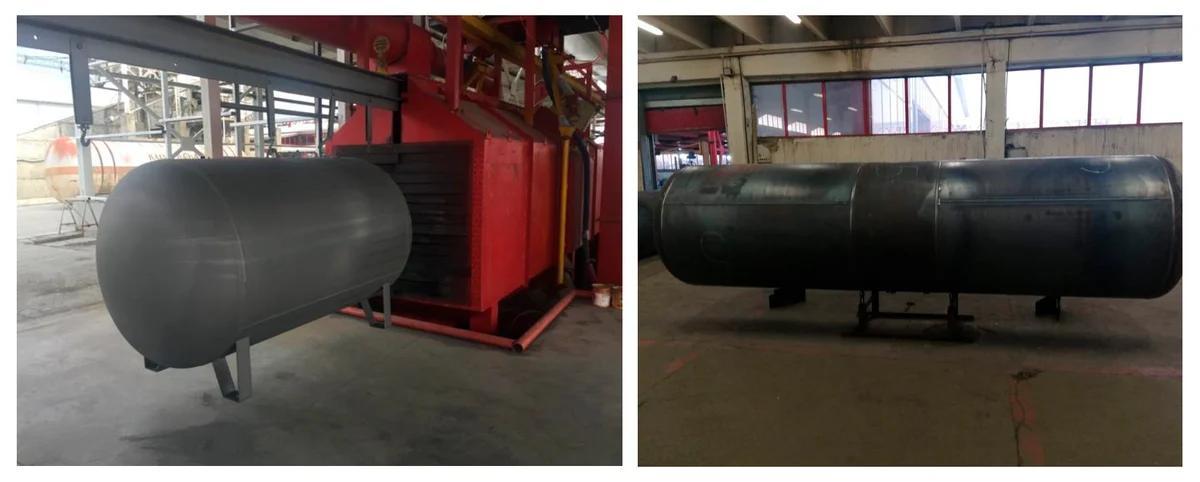 Фото резервуара до и после дробеструйной обработки