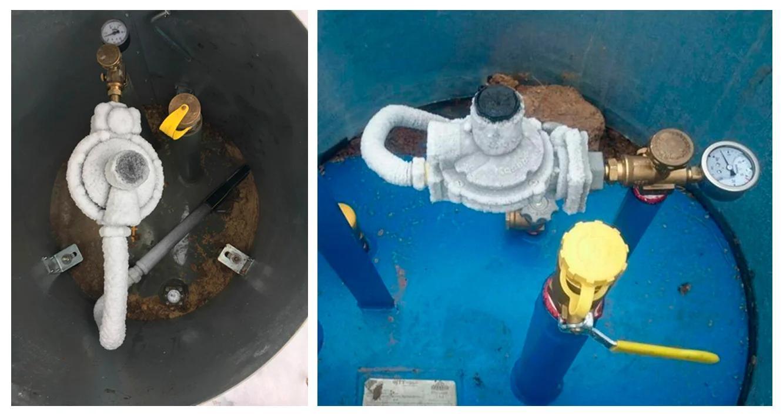 Фото обмерзших регуляторов давления