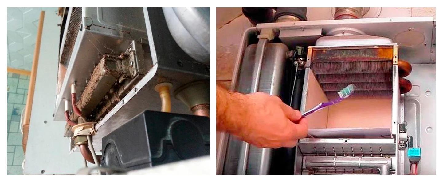 Фото процесса чистки газового котла