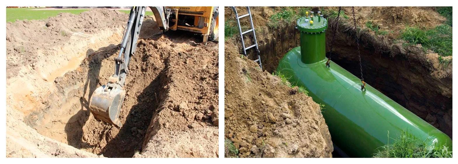 Подготовка котлована и установка газгольдера в котлован